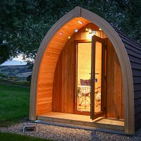 Gothic arched camping pods for Goth weekend 2016